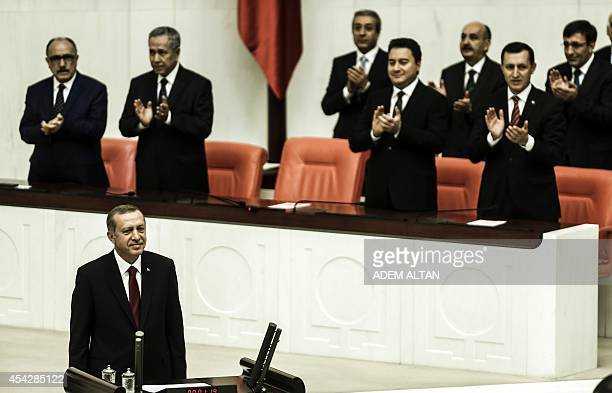 Turkey's new President Tayyip Erdogan attends a swearing in ceremony at the parliament on August 28 in Ankara Erdogan was sworn in as Turkey's 12th...
