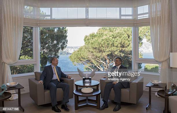 Turkey's President Abdullah Gul and Turkish Prime Minister Recep Tayyip Erdogan meet in Istanbul Turkey on June 29 2014