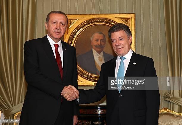 Turkey's President Recep Tayyip Erdogan and Colombian President Juan Manuel Santos meet at Narino Palace in Bogota on February 10, 2015. Erdogan pays...