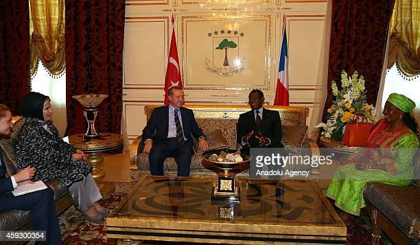 Turkey's President Recep Tayyip Erdogan and his wife Emine Erdogan meet Equatorial Guinea's President Teodoro Obiang Nguema Mbasogo and his wife in...