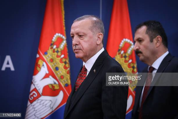 Turkey's president Recep Tayyip Erdogan arrives at a joint press conference with Serbian President in Belgrade, on October 7, 2019.