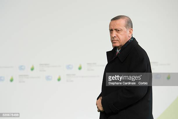 Turkey's President Recep Tayyip Erdogan arrives for the COP21 United Nations Climate Change Conference on November 30 2015 in Le Bourget France More...