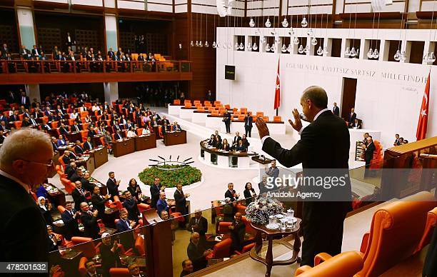 Turkey's President Recep Tayyip Erdogan attends the Turkish parliament's 25th term oathtaking ceremony of the newlyelected members of Turkish...