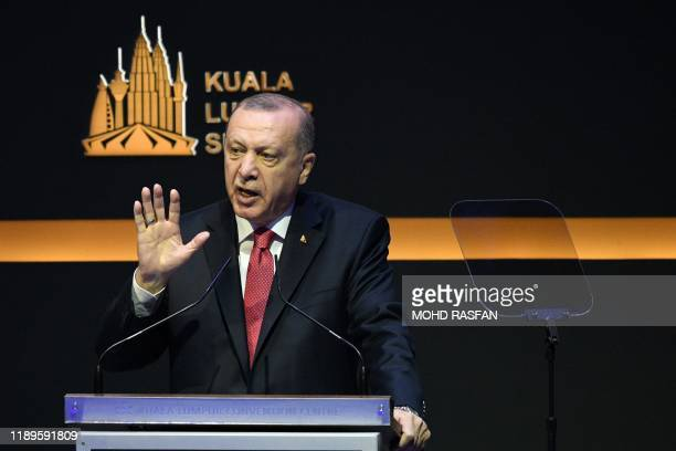 Turkey's President Recep Tayyip Erdogan delivers his speech during the opening ceremony of the Kuala Lumpur Summit in Kuala Lumpur on December 19 2019