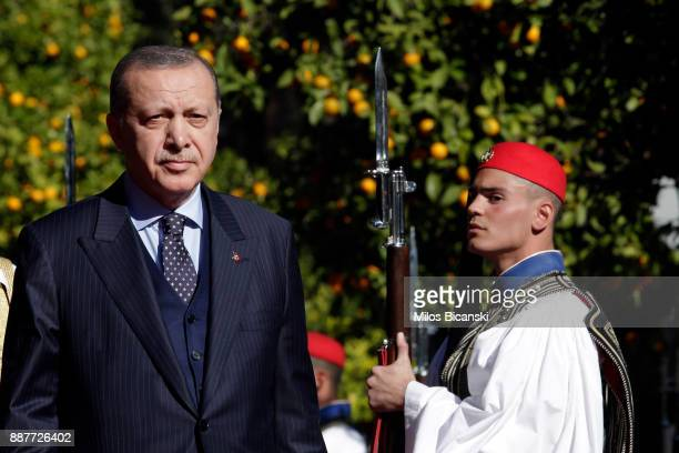 Turkey's President Recep Tayyip Erdogan during the welcome ceremony in Athens Thursday Dec 7 2017 Erdogan arrived in Athens Thursday for a twoday...