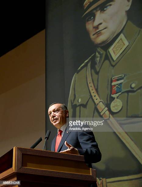 Turkey's President Recep Tayyip Erdogan makes a speech during his visit at Turkish War Colleges Command in Istanbul Turkey on March 19 2015