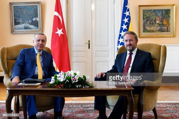 Turkey's President Recep Tayyip Erdogan meets with the chairman of the tripartite Presidency of Bosnia and Herzegovina Bakir Izetbegovic during a...