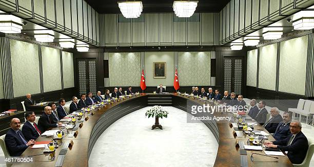 Turkey's President Recep Tayyip Erdogan presides over the cabinet meeting at the presidential palace in Ankara Turkey on January 19 2015