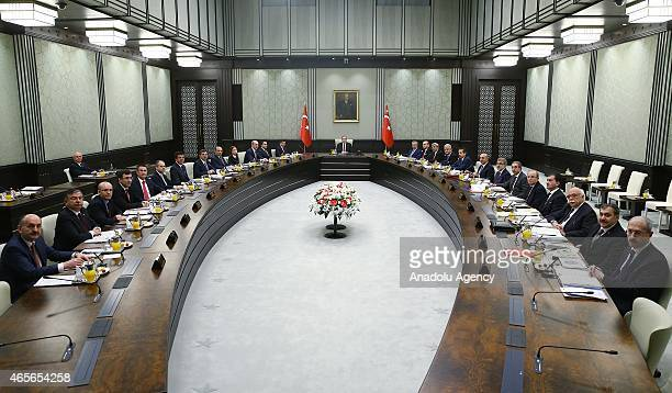 Turkey's President Recep Tayyip Erdogan presides over the cabinet meeting for the second time at the presidential palace in Ankara Turkey on March 9...
