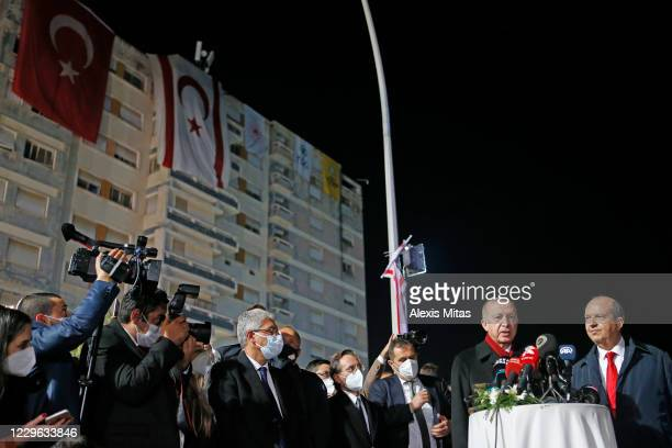 Turkey's President Recep Tayyip Erdogan speak during a press conference with the newly elected Turkish Cypriot leader Ersin Tatar on November 15,...