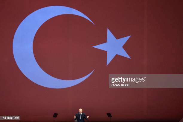 TOPSHOT Turkey's President Recep Tayyip Erdogan speaks at the 22nd World Petroleum Congress on July 10 2017 in Istanbul Turkish President Recep...