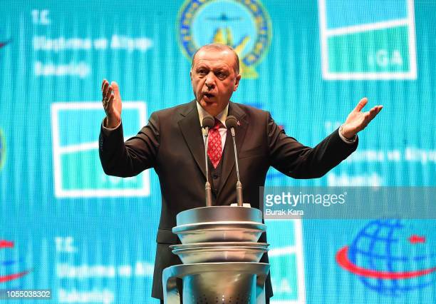Turkey's President Recep Tayyip Erdogan speaks at the official opening ceremony of Istanbul's new airport on October 29 2018 in Istanbul Turkey New...