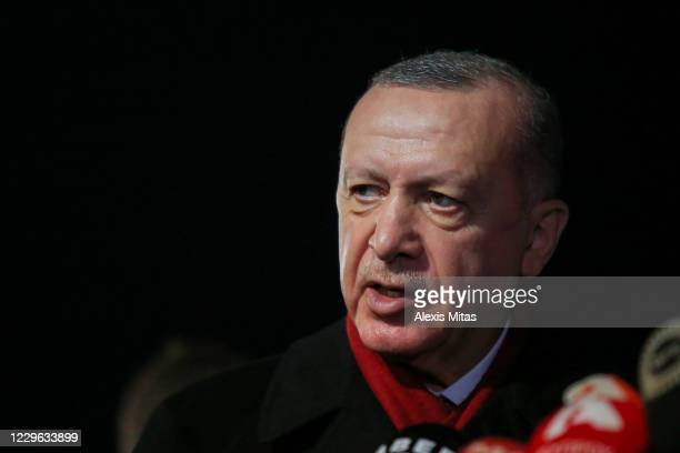 Turkey's President Recep Tayyip Erdogan speaks during a press conference on November 15, 2020 in the disputed coastal town of Varosha in Famagusta,...