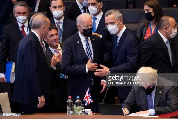 Turkey's President Recep Tayyip Erdogan , US President Joe Biden, NATO Secretary General Jens Stoltenberg, and Britain's Prime Minister Boris Johnson...