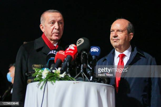 Turkey's President Recep Tayyip Erdogan with newly elected Turkish Cypriot leader Ersin Tatar speak during a press conference on November 15, 2020 in...