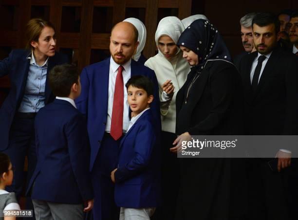 Turkey's President Recep Tayyip Erdogan's family attends the oath taking ceremony at the Turkish parliament on July 9 2018 in Ankara Turkey President...