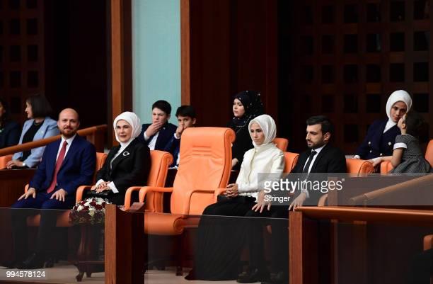 Turkey's President Recep Tayyip Erdogan's his son Bilal Erdogan his wife Emine Erdogan his daughter Sumeyye Bayraktar and his soninlow Selcuk...