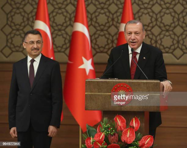 Turkey's President Tayyip Erdogan announces Fuat Oktay as vice president during a press conference at the Presidential Palace on July 9 2018 in...