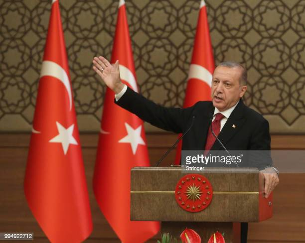 Turkey's President Tayyip Erdogan announces the new ministers of his cabinet during a press conference at the Presidential Palace on July 9 2018 in...