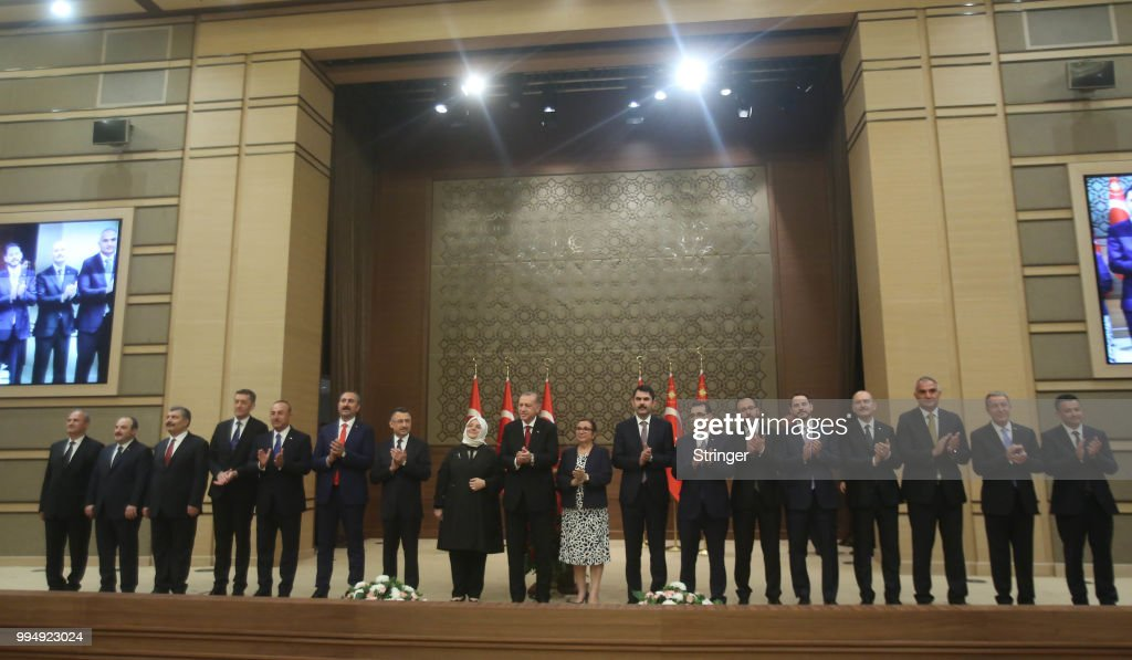 Turkey's President Tayyip Erdogan announces the new ministers of his cabinet during a press conference at the Presidential Palace on July 9, 2018 in Ankara, Turkey. Erdoan appointed Chief of General Staff Gen. Hulusi Akar as the new defense minister and his son-in-law Berat Albayrak as the Treasury and Finance Minister in a 16-seat surprise cabinet with not much known bureaucratic figures, hours after he was sworn into office on July 9. Erdogan secured another five year term and increased powers after winning 52.5 percent of the vote in the June 24 snap presidential and parliamentary elections. Turkey has been under a state of emergency since the July 2016 failed coup attempt and since then the government has arrested, sacked and detain over 100,000 people said to be supporters of religious leader Fethullah Gulen. Erdogan announced that the current state of emergency would be lifted on July 18, 2018.
