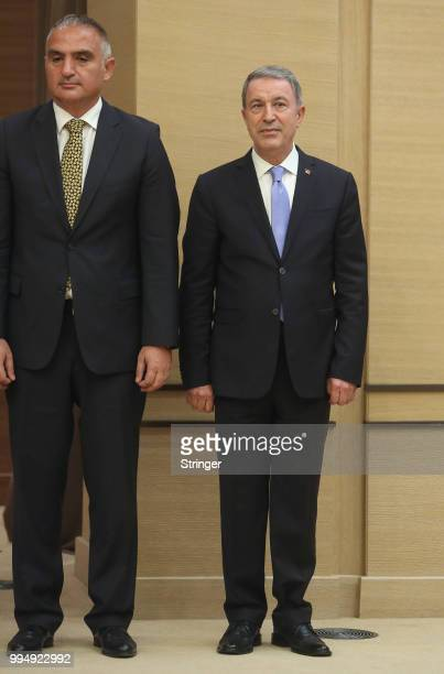 Turkey's President Tayyip Erdogan appointed appointed Chief of General Staff Gen Hulusi Akar as the new defense minister during a press conference at...