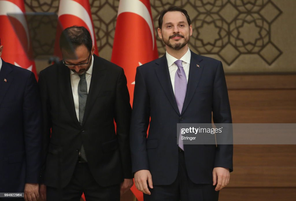 Turkey's President Tayyip Erdogan appointed his son-in-law Berat Albayrak (R) as the Treasury and Finance Minister during a press conference at the Presidential Palace on July 9, 2018 in Ankara, Turkey. Erdoan appointed Chief of General Staff Gen. Hulusi Akar as the new defense minister and in a 16-seat surprise cabinet with not much known bureaucratic figures, hours after he was sworn into office on July 9. Erdogan secured another five year term and increased powers after winning 52.5 percent of the vote in the June 24 snap presidential and parliamentary elections. Turkey has been under a state of emergency since the July 2016 failed coup attempt and since then the government has arrested, sacked and detain over 100,000 people said to be supporters of religious leader Fethullah Gulen. Erdogan announced that the current state of emergency would be lifted on July 18, 2018.