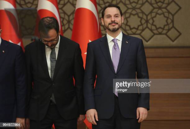 Turkey's President Tayyip Erdogan appointed his soninlaw Berat Albayrak as the Treasury and Finance Minister during a press conference at the...