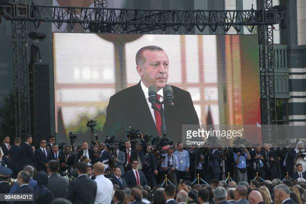 Turkey's President Tayyip Erdogan makes a speech during a ceremony at the Presidential Palace on July 9 2018 in Ankara Turkey President Erdogan was...