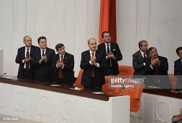 Turkey's Prime Minister Ahmet Davutoglu and Deputy Prime Ministers Yalcin Akdogan Ali Babacan and Numan Kurtulmus attend the special session to mark...