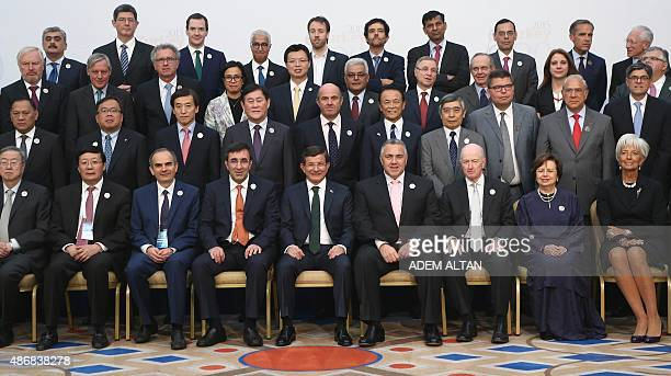 Turkey's Prime Minister Ahmet Davutoglu International Monetary Fund Managing Director Christine Lagarde finance ministers and central bank governors...