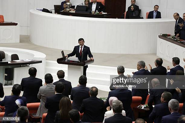 Turkey's Prime Minister and the Leader of the Justice and Development Party's Konya MP Ahmet Davutoglu takes oath at the Grand National Assembly of...