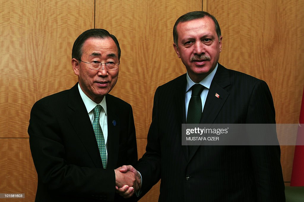 Turkey's Prime Minister Recep Tayyip Erdogan (R) shakes hands with U.N. Secretary-General Ban Ki-moon (L) before their meeting during the U.N. sponsored conference on Somalia in Istanbul, on May 22, 2010. 'The only way to restore stability is to support this government in its reconciliation effort and its fight against extremism,' Ban told delegates from 55 nations and 12 international organisations in Istanbul.