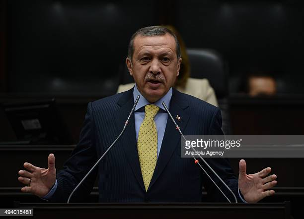 Turkey's Prime Minister Recep Tayyip Erdogan speaks during the parliamentary group meeting of Turkey's ruling Justice and Development Party in the...