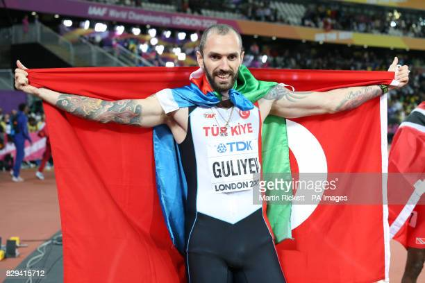 Turkey's Ramil Guliyev celebrates wiining the men's 200m final during day seven of the 2017 IAAF World Championships at the London Stadium