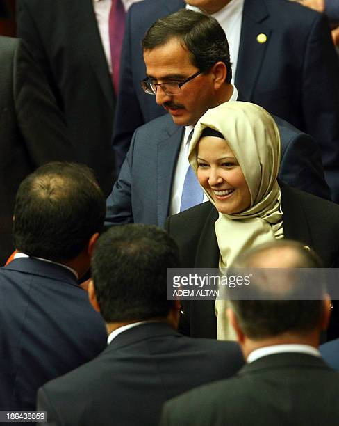 Turkey's ruling Justice and Development Party MP Nurcan Dalbudak arrives for a general assembly at the Turkish Parliament wearing a headscarf in...