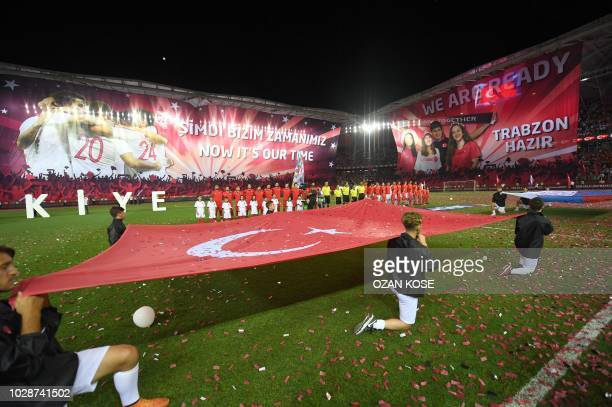 Turkey's Russsia's players are seen at the national anthem ceremomy during the UEFA Nations League football match between Turkey v Russia at Senol...