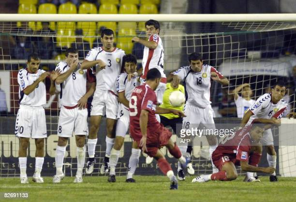 Turkey's Semih Senturk takes a freekick during the World Cup 2010 qualifying match between Turkey and Armenia in Yerevan on September 6 2008 Turkey's...