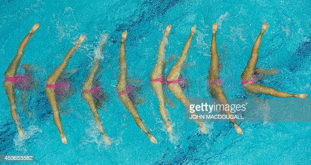 Turkey's team performs their free combination routine in the synchronised swimming event of the 32nd LEN European Swimming Championships on August 15...