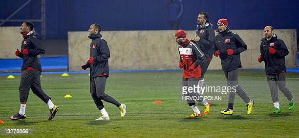 Turkey's team players take part in a practice session in Zagreb on November 14 on the eve of their EURO 2012 qualifier playoff second leg football...