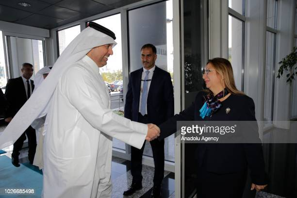 Turkey's Trade Minister Ruhsar Pekcan and Qatar's Economy and Commerce Minister Sheikh Ahmed bin Jassim bin Mohammed Al Thani shake hands before...