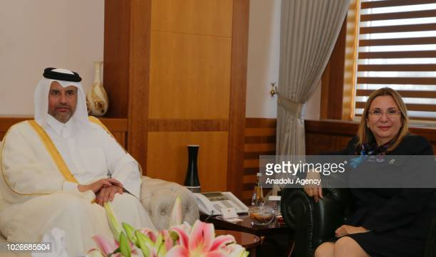 Turkey's Trade Minister Ruhsar Pekcan and Qatar's Economy and Commerce Minister Sheikh Ahmed bin Jassim bin Mohammed Al Thani meet to sign a...