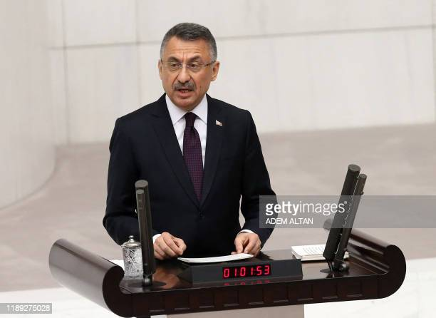 Turkey's Vice President Fuat Oktay delivers a speech on the budget of the Presidency and its affiliated institutions for the year 2020, during the...