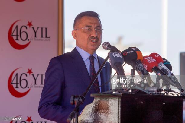Turkey's Vice President Fuat Oktay speaks during a ceremony in the northern part of Nicosia, the capital of the self-proclaimed Turkish Republic of...