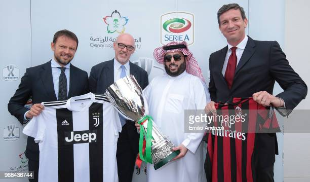 E Turki Al Sheik Chairman of the General Sport Authority Kingdom of Saudi Arabia poses with the trophy with Lega Serie A CEO Marco Brunelli Giorgio...