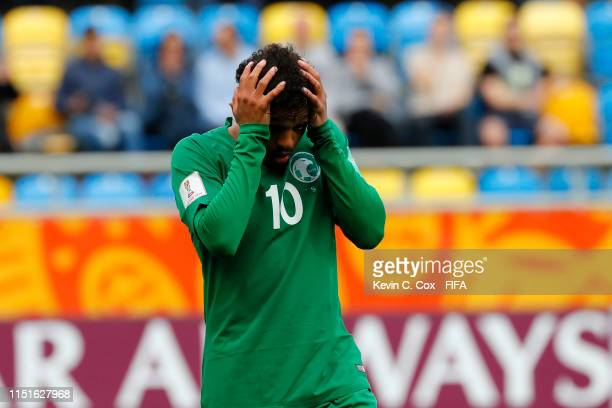 Turki Alammar of Saudi Arabia reacts after a missed chance during the 2019 FIFA U-20 World Cup group E match between France and Saudi Arabia at...