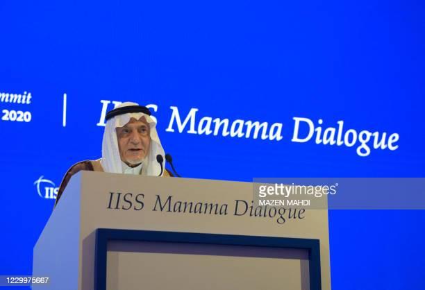 Turki al-Faisal bin Abdulziz al-Saud, chairman of King Faisal Center for Research and Islamic Studies, addresses the Manama Dialogue security...