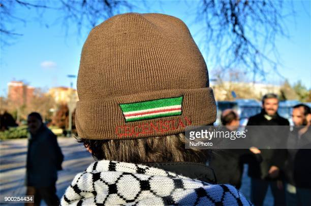 Turkish activist Nurettin Koc is seen wearing a hat with a Chechen flag during his arrival in Ankara, Turkey on January 1, 2018 as he walks from...
