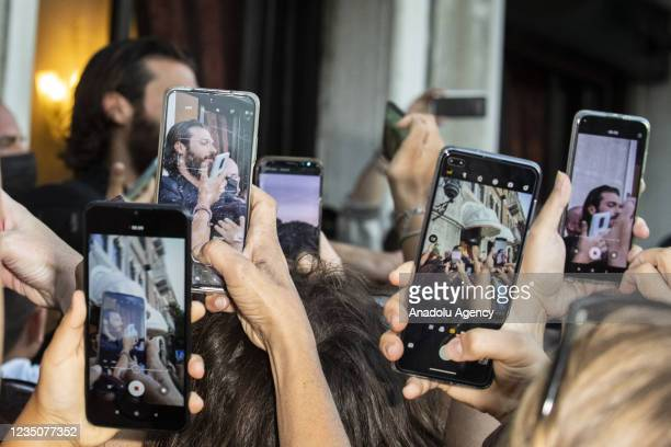 """Turkish actor Can Yaman meets the fans before the red carpet of the """"Filming Italy Award"""" during the 78th Venice International Film Festival on..."""