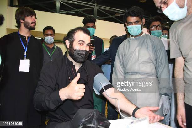 Turkish actor Celal Al donates blood for Pakistani children with thalassaemia during his visit in Karachi, Pakistan on March 28, 2021.