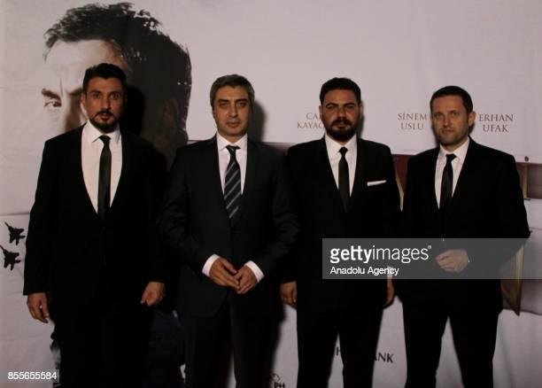 Turkish actors Necati Sasmaz Cahit Kayaoglu Erhan Ufak and Ertugrul Sakar attend the premiere of the movie Kurtlar Vadisi Vatan at Pathe Arena in...